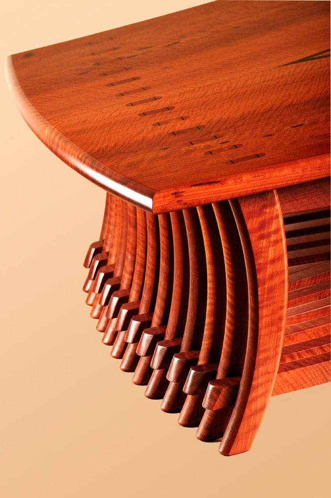 Timber art furniture detail by designer maker Gray Hawk