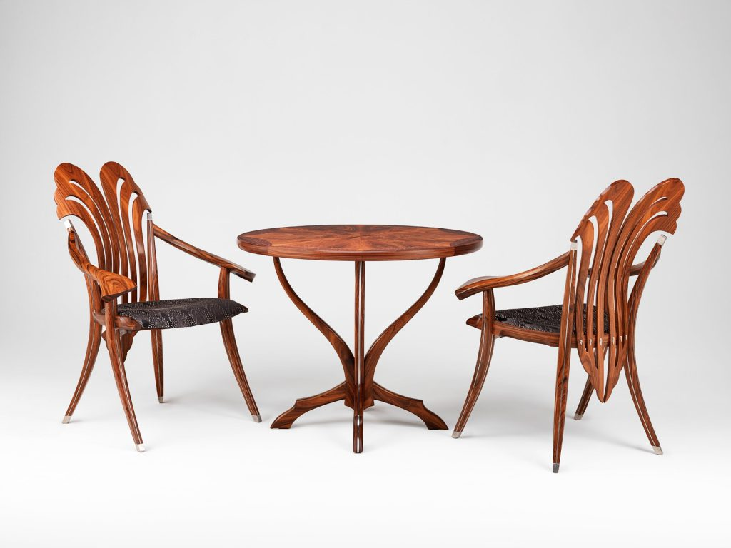 Tryst table and chairs, by furniture designer and maker Gray Hawk