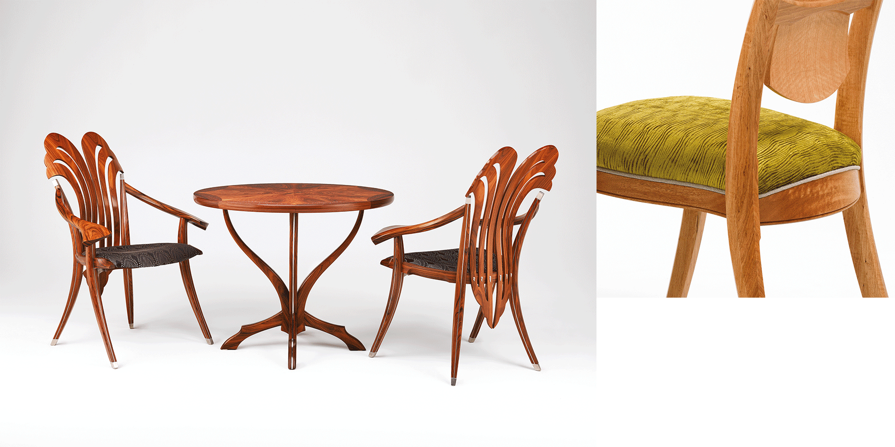 Combination of handmade table, chairs furniture from Adelaide designer