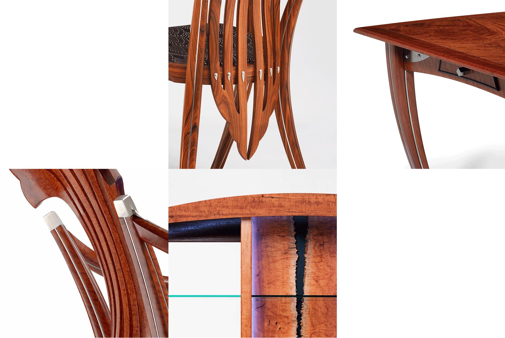 Furniture detail montage by designer maker Gray Hawk